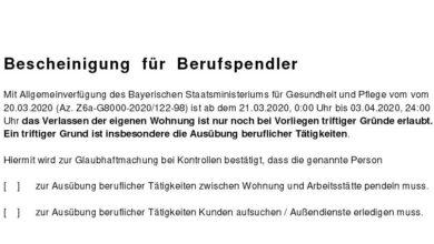 Photo of Coronavirus:  Ausgangsbeschränkung in Bayern – Landratsamt Ostallgäu bietet Bescheinigung für Berufspendler an