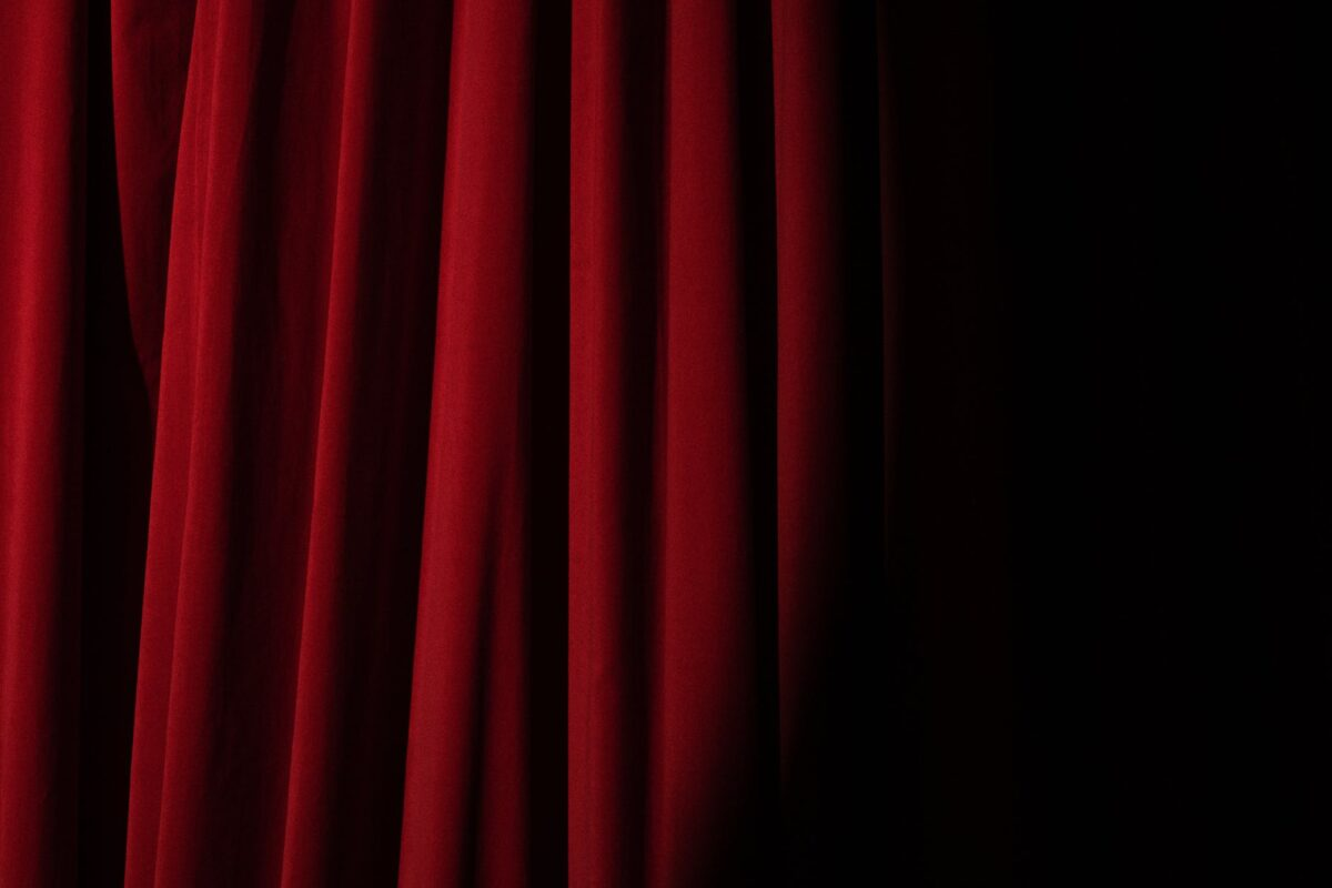 spotlight on a red curtain